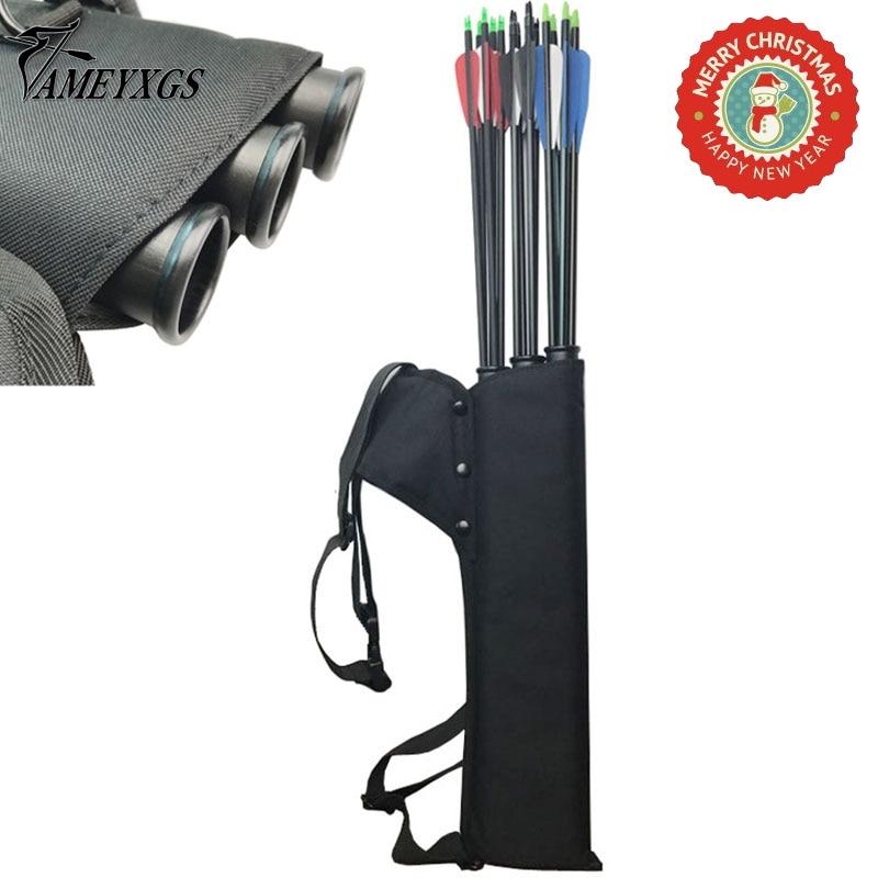 Archery Black Quiver 3 Tubes Arrow Quiver Tube Arrow Holder Portable Back / Waist Strape Hunting Bag Accessories Shooting