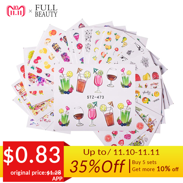 18pcs Hot Cake/Ice Cream Nail Sticker Mixed Colorful Designs Women Makeup Water Tattoos Nail Art Decals Manicure