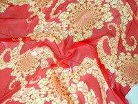 Red yellow flowers summer ultra thin sericiculture silk one piece dress elegant print silk chiffon yarn material clothes cloth