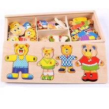 Drewniany zestaw puzzli zabawki edukacyjne dla dzieci Puzzle dla dzieci drewniany miś zabawka zmieniająca ubrania
