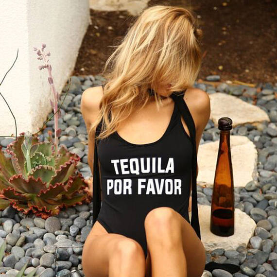 Tequila Por Favor купальник женский купальник Забавный боди Открытый Глубокий вырез на спине высокий вырез девушка цельный костюм купальные костюмы комбинезон Rompe
