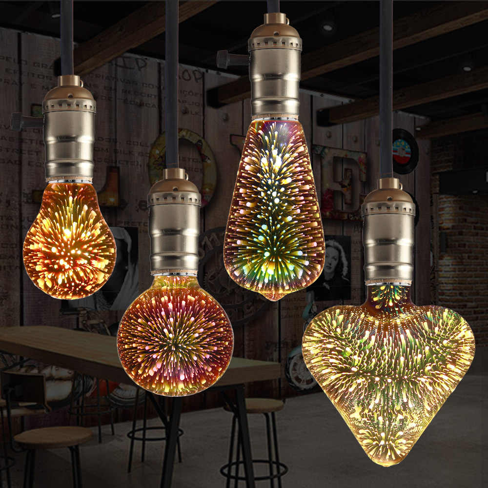 E27 Led Lamp 3D Ster 220V Kleurrijke Vuurwerk Bombillas Led Edison Lamp Vakantie Kerst Decoratie Lampada LED Lamp Lamparas