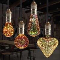E27 bombilla Led 3D Star 220V fuegos artificiales coloridos Bombillas bombilla LED Edison decoración navideña lámpara Led lámparas