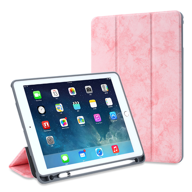 For iPad Pro 12.9 2018 Retro Canvas Flip Leather Case Slim Foldable Stand Smart Cover for iPad Pro 12.9 inch With Pen Tray