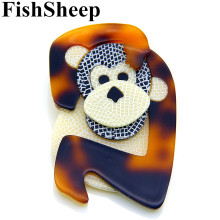 FishSheep Acrylic Monkey Brooch Lovely Brown Resin Animal Brooches And Pins For Women Men Broches Handmade Accessories Gifts