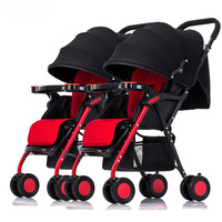 Multi purpose twins baby stroller lightweight high landscape twins trolley separable folding multiple newborn carriage pram
