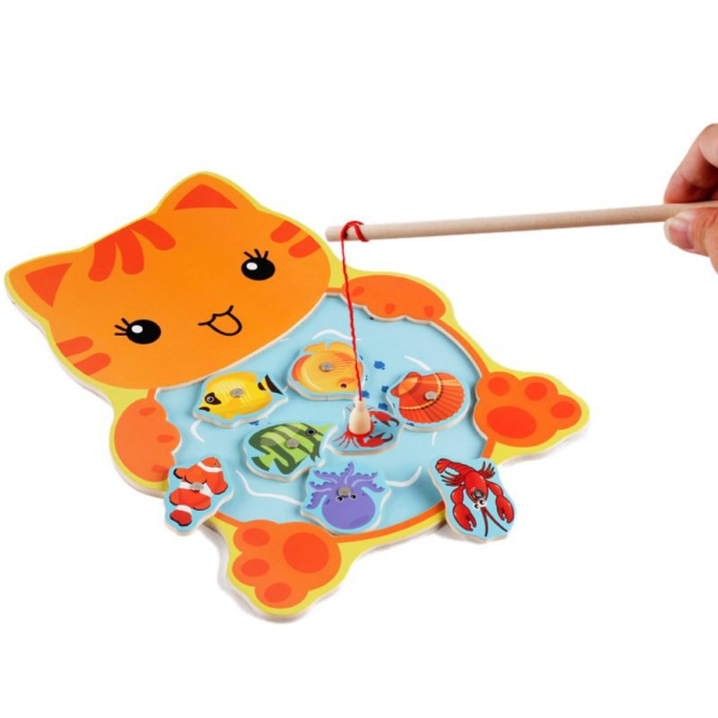 1 piece Baby Wooden Toys Magnetic Fishing Game Jigsaw Puzzle Board 3D Jigsaw Puzzles Children Education Toy for Children Hot