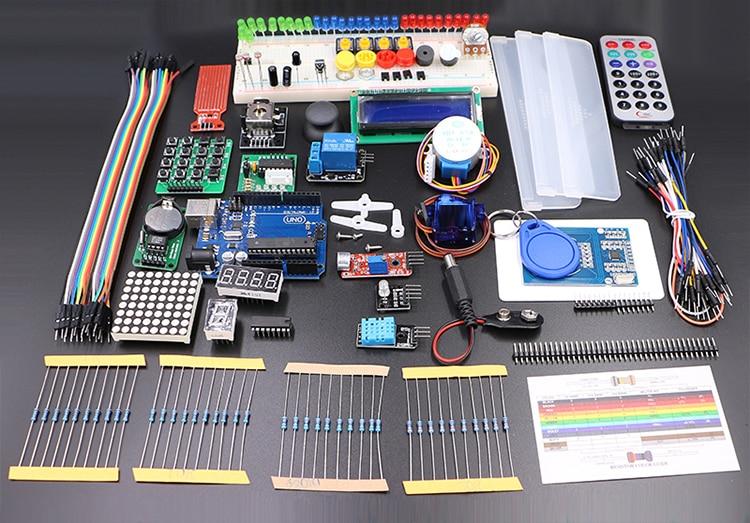 С розничной коробке UNO Rev3 комплект для Arduino Starter KIT RFID узнать люкс шаговый двигатель + ULN2003 Бесплатная доставка 1 комплект