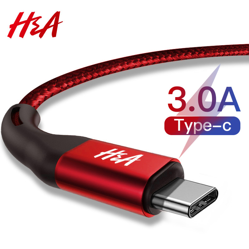 H&A 3A USB Type C Fast Charging usb c Cable Type-c data Cord Phone Charger For Samsung