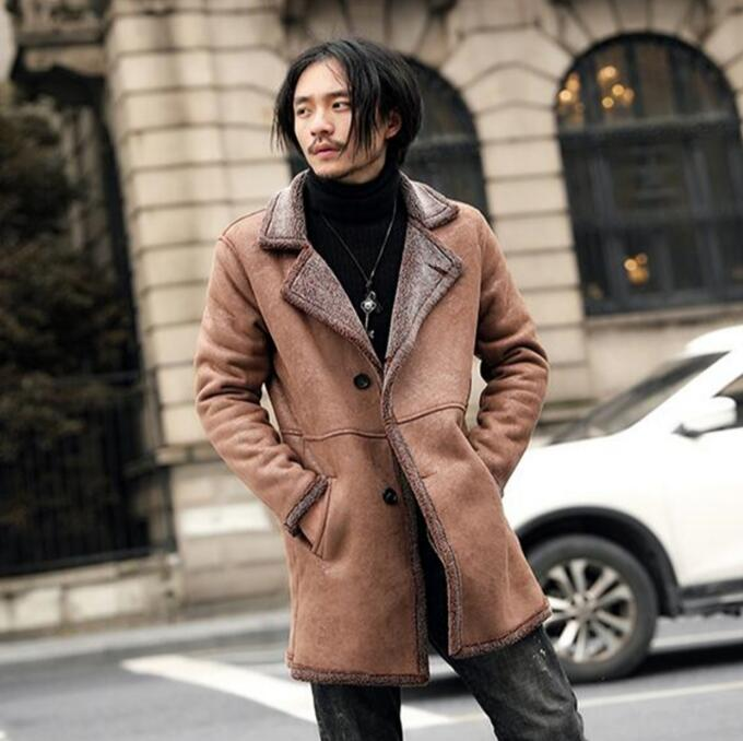 long Suede Jacket Men With Fur Collar Coat Men's Faux Leather Jacket Men New Black Brown Slim Fit Short Thick Winter Fur Coat