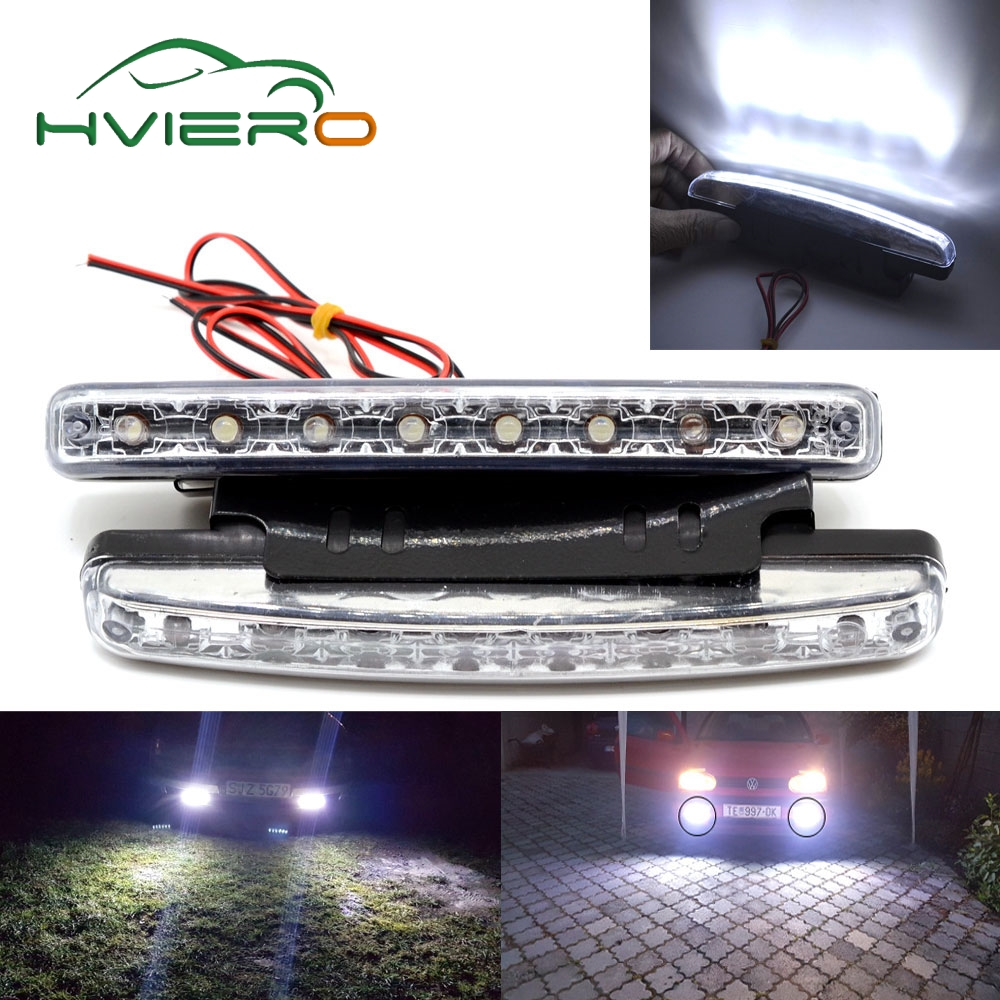 Auto Led Durable Car Led Daytime Running Light 8 LED DRL with Lens White DC 12V 24V Head Lamp Headlight Parking Bulb Fog Lights new arrival 20w 2500lm epistar cob chip h1 led head lights bulb 12v 24v auto car daytime running light headlights 6000k white