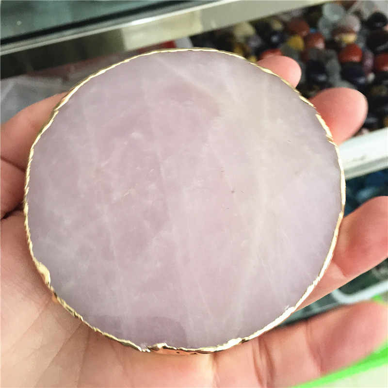 Rose คริสตัล Coaster รอบถ้วยตารางควอตซ์ Onyx Mat Coasters สำหรับเครื่องดื่มของขวัญขัด Mineral