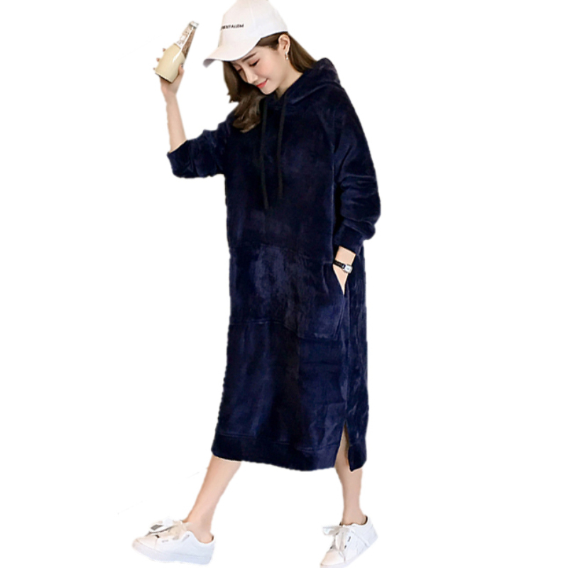 Autumn Winter Maternity Hoodie Dresses Casual Loose Long Sweatshirt M-3XL Plus Size Hoody Mid-Calf Pregnant Dress Thick Pullover plus size funnel collar maxi asymmetric hoodie