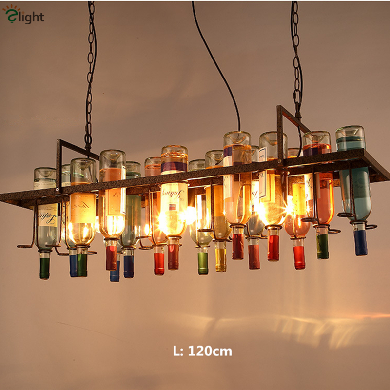 Rétro Loft américain coloré bouteille de vin chaîne pendentif lumineux LED Lustre Bar Suspension industrielle lampe éclairage