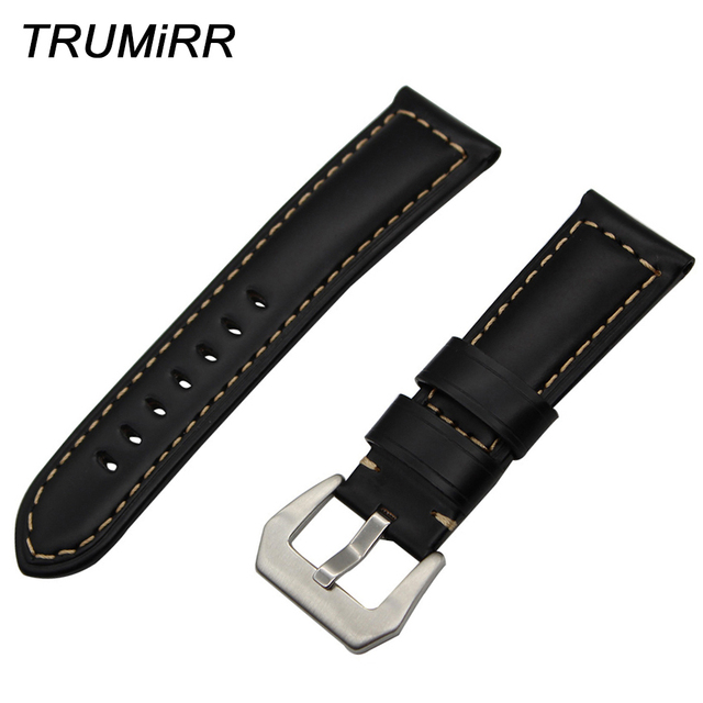 0c98fdc9c0 24mm Calf Genuine Leather Watch Band for Sony Smartwatch 2 SW2 Wrist Strap  Stainless Steel Tang