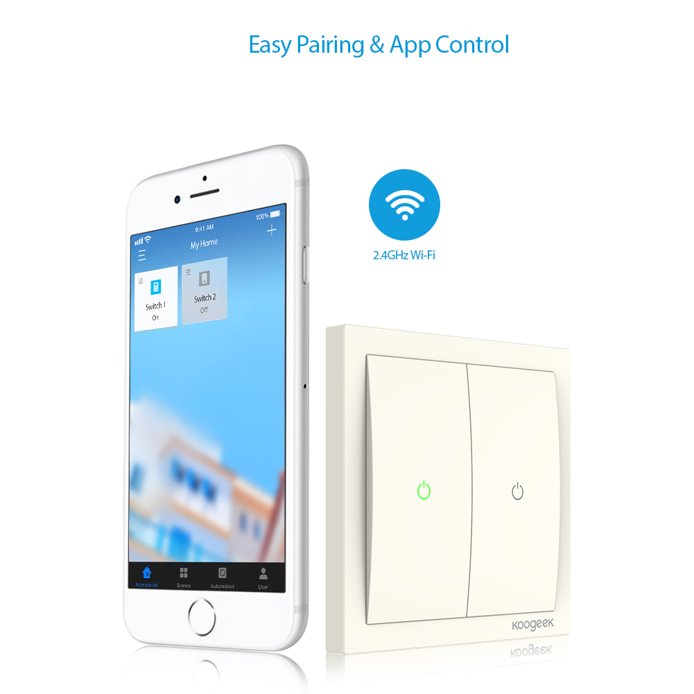 Koogeek Two Gang Wifi Home Smart Light Switch 220240v For Apple Geeks On Threeway Outlet Wiring Options Homekit Support Siri Remote Control Single Pole Wall In Automation Modules From