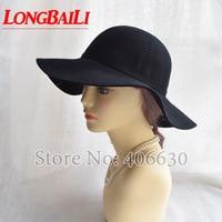 LongBaiLi Large Brim Wool Felt Hats For Women Chapeu Feminino Black Floppy Hat Free Shipping PWFE017