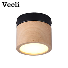 Modern downlight 5w wooden Three-color dimming led lighting nordic ceiling lamp spot lights for living room bedroom aisle(China)