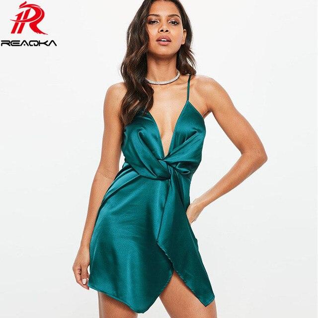 27563f55054 Hot Sexy Satin summer dress women V-Neck Spaghetti Strap Backless irregular  see through midi dresses Nightclub Party vestido New