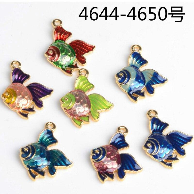 10pcs/lot loveliness animal fish pendant tag alloy enamel Charm DIY accessories of bracelet headdress earring acessories