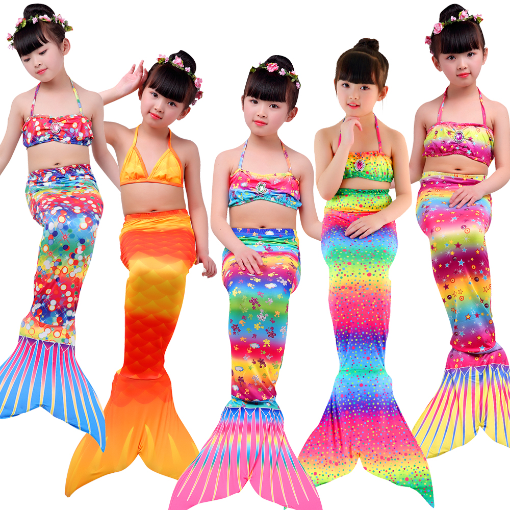 Mother & Kids Lovely Free Shipping Swimsuits Children Girl Mermaid Tails With Monofin Bikinis Set Tops With Diamond Wreath Cosplay Costume Swimming
