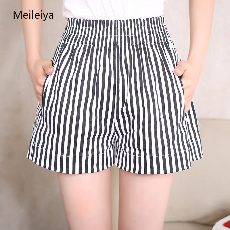 Outside Wearing Vertical Stripes High Waist Wide Legs Beach Summer Women's Short Pants Large Size Casual Hot Pants Are Thin