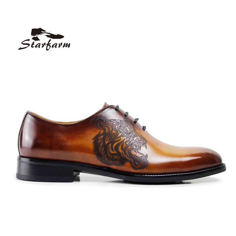 STARFARM Goodyear Outsole Custom Made Shoes Mens Hand Made Oxford Cow Leather Formal Dress Shoes Wipe Color Tiger Pattern Brown полироль пластика goodyear атлантическая свежесть матовый аэрозоль 400 мл