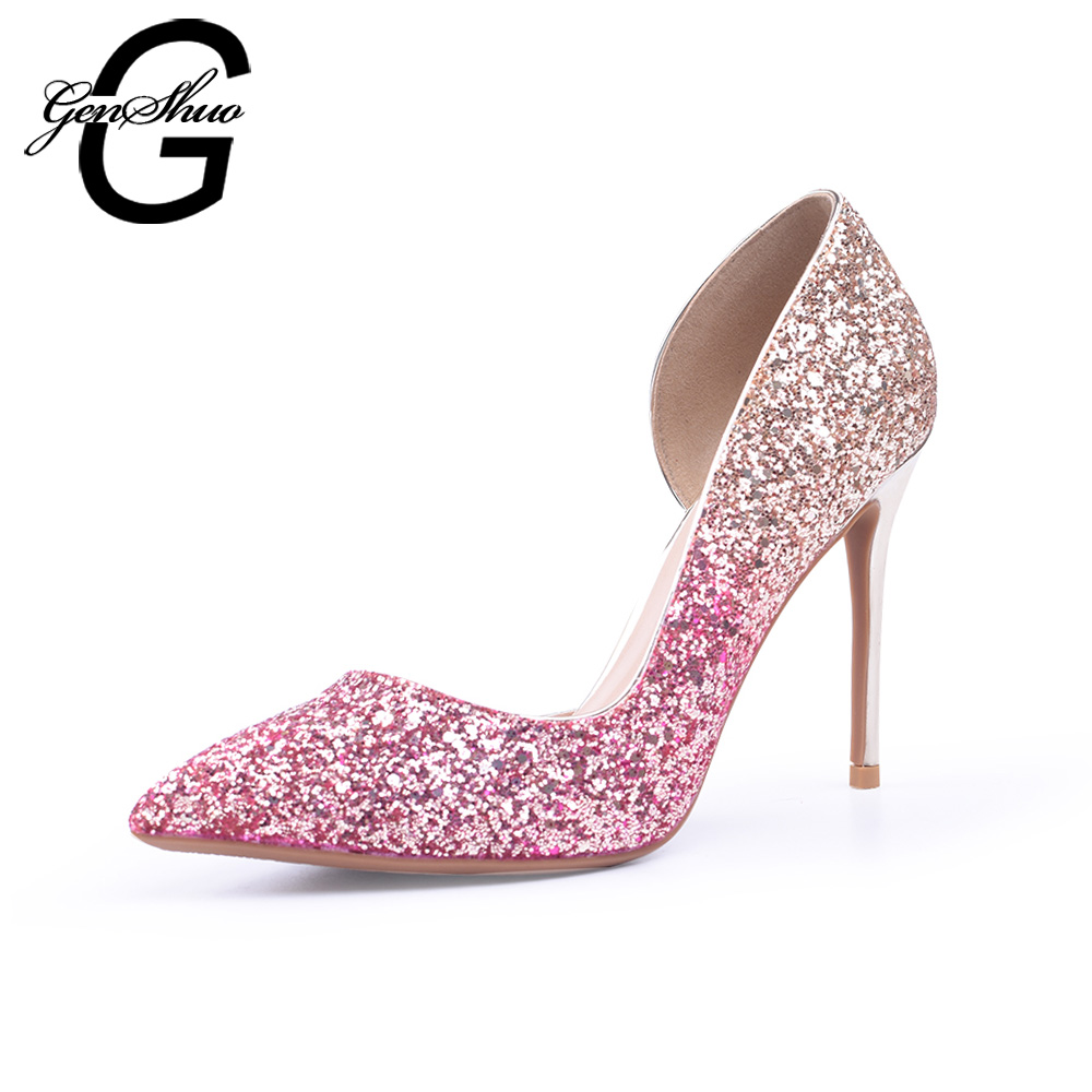 GENSHUO Shining Wedding Shoes High Heels Women Pumps Pink Gold Stiletto Thin Heels Shoes for Club Prom Party 6 8 10cm Size 32-46 genshuo women shoes high heels black d orsay flock pumps nude red wedding party shoes thin heels small size 32 plus 44 45 46