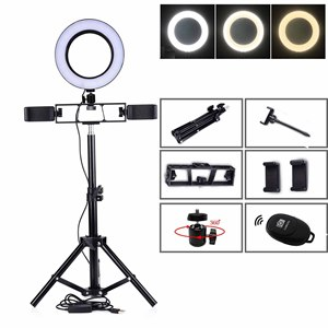 Image 1 - 55/120/160/100 CM Tripods Circle Video Live Photo 6/10 INCH Dimmable LED Ring Lamp for Makeup Photography Selfie