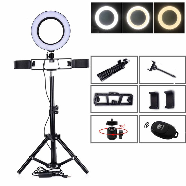 55/120/160/100 CM Tripods Circle Video Live Photo 6/10 INCH Dimmable LED Ring Lamp for Makeup Photography Selfie