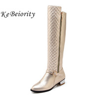 KEBEIORITY Autumn Women Boots 2017 Fashion Silver Gold Womens Knee High Boots Femme Ladies Black Long Boots Big Size 34 45