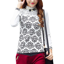 New Fashion Spring Autumn Shirt Women  Plus Size Fashion  Nice Casual Beading Flower Print Cotton Lace Elegant Blouse A825