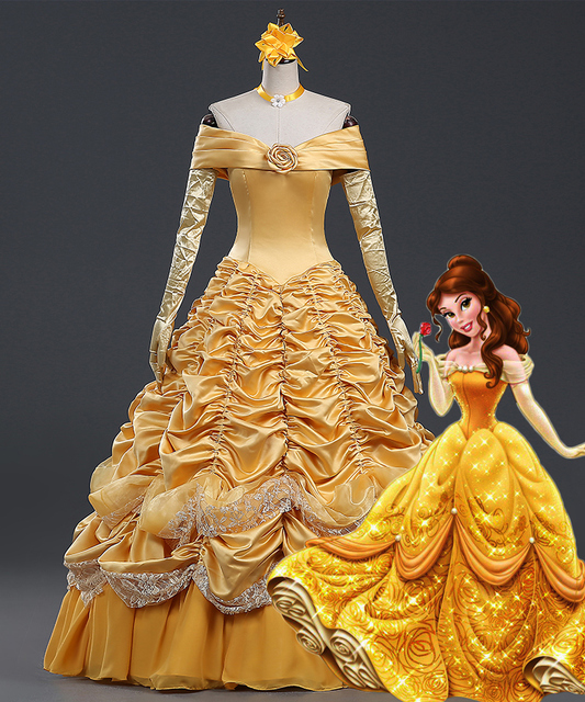 Beauty And The Beast Belle Cosplay Princess Gorgeous Dress For