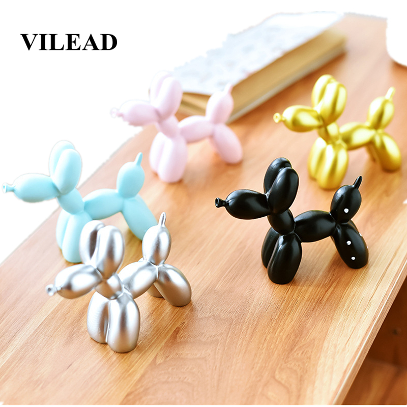 VILEAD 9cm Resin Balloon Dog Figurines Creative Ornament Artificial Painting Baking Cake Decoration Childhood Party Dessert Gift