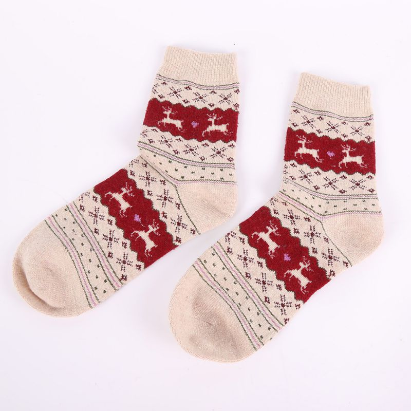 Women Winter Warm Wool Socks Christmas Gift Snowflake Deer Novelty Sock Filler Xmas Gift
