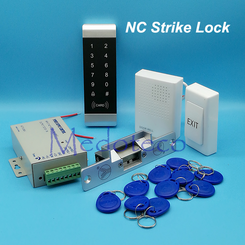 Full Narrow Door Access Control System 125Khz Rfid Card Access Control System Kit +NC Electric Strike Lock + Access Power Supply
