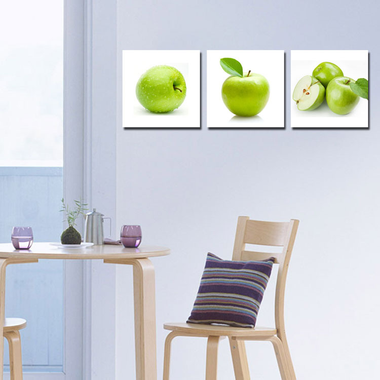 2017 3 Panel Canvas Dinning Room Art Picture Fresh Green Apple Prints Kitchen Cupboard Decoration Wall