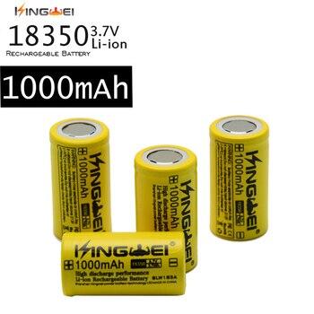 KingWei amarillo 100 unids/lote 18350 1000mAh 3,7 v Li ion batería recargable para linterna LaserPen