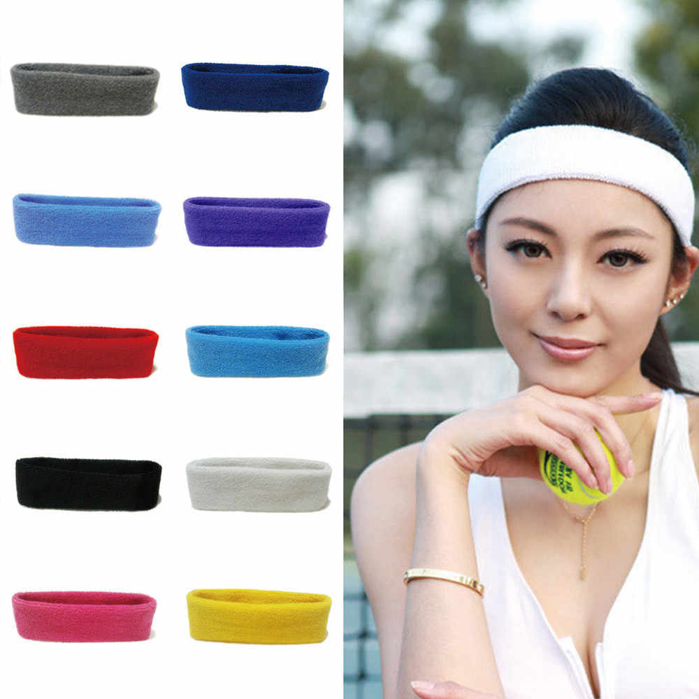 Women/Men Cotton Sweat Sweatband Gym  Headband  Stretch Head Band For Sport Polyester Cotton Breathable Hair Band #ZH