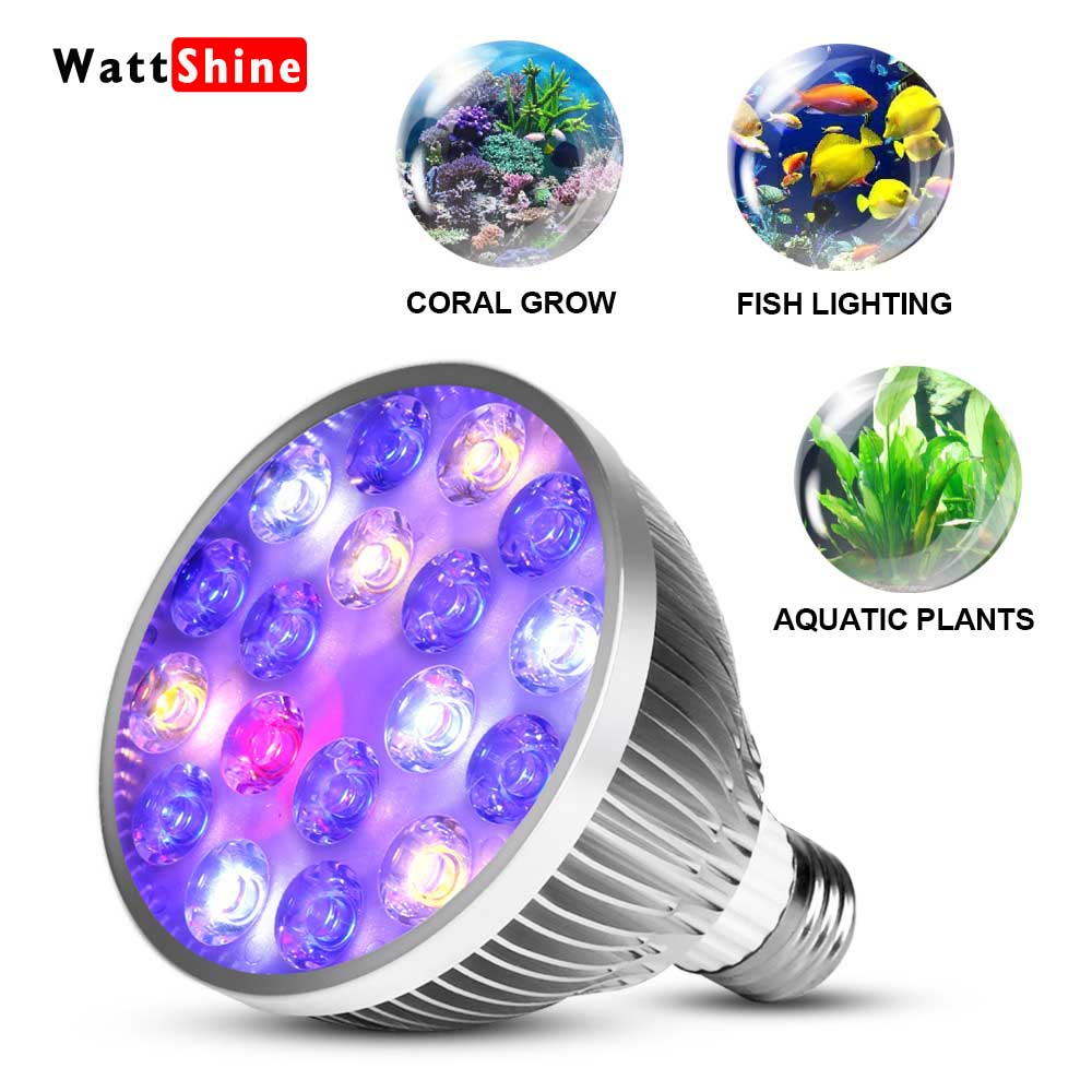 цены 54W 36W Freshwater Saltwater aquarium lighting Marine Reef aquariums Fish tank lights Coral grow Aquatic plants E27 led light