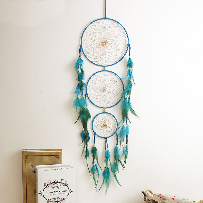 3 Color Vintage Enchanted Forest Polycyclic Dreamcatcher Handmade Dream Catcher Net With Feather Decoration Ornament BMW054