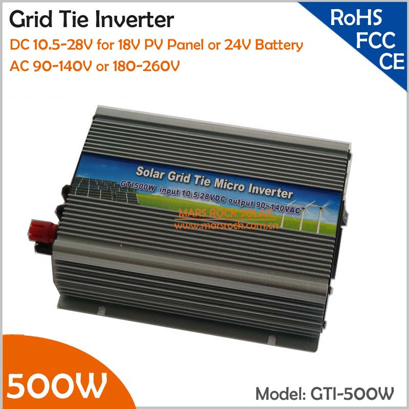 10.5-28V DC to AC 110V or 220V MPPT Solar Inverter 500W Grid Tie Inverter for 18V solar power system or 24V Battery 500w micro grid tie inverter for solar home system mppt function grid tie power inverter 500w 22 60v