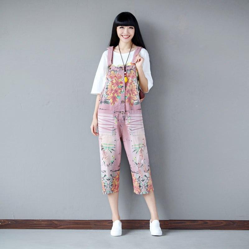bc7a3640aa8 Casual Loose Plus Size Denim Overalls Women Ripped Jean Harem Jumpsuit  Boyfriend Baggy Wide Leg Jeans Pants Trousers