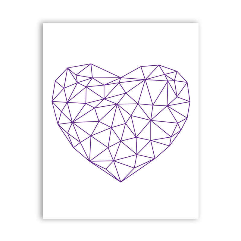 Abstract Polygonal Heart Art Print Wall Pictures ,  Geometric Love Symbol Canvas Painting Poster Living Room Home Decoration