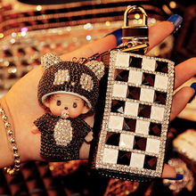 Прекрасный брелок горный хрусталь Monchhichi Sleutelhanger брелок автомобиля брелок женщины держатель кольцо ключевой мешок Bague подарок K-075
