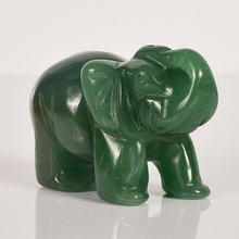 2 Inch Elephant Figurines Craft Carved Natural Stone Green Aventurine Crystal Mini Animals Statue For Home