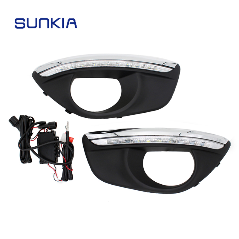 New Specific LED Daytime Running Light for Hyundai Santa Fe 2010-2012 with Fog Lamp Hole Dimmed Light DRL Free Shipping