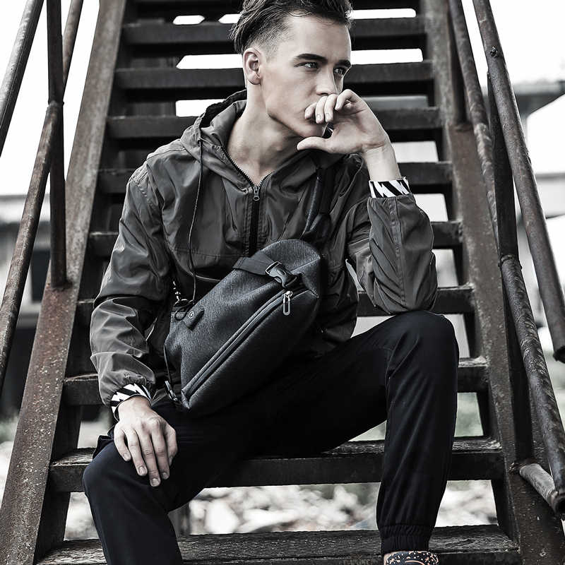 Busana Kasual Pria Tas Messenger Pria Desain Usb Pria Tas Dada Pack Anti Pencurian Tas Selempang Bahu untuk Remaja Laki-laki tas Travel