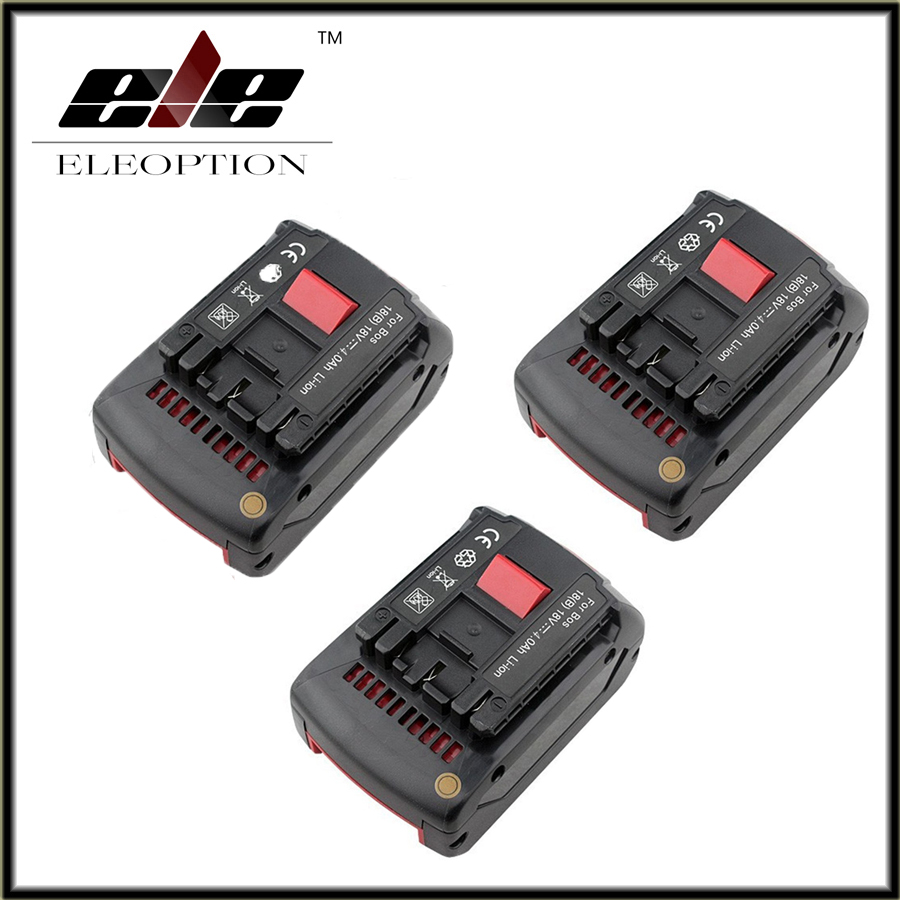 все цены на 3 pcs Replacement for Bosch Rechargeable battery 18v 4.0 Ah Li-ion Battery for Bosch 17618 BAT609 BAT618 with led light
