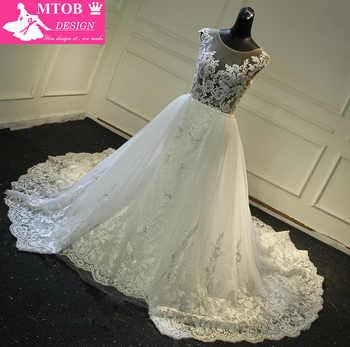 Fashionable Lace Mermaid Wedding Dress 2019 Sexy See Through Back Chic Detachable Train Vestidos De Noiva Bride Dresses MTOB1736